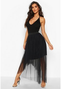 Womens Black Dip Hem Tulle Maxi Skirt