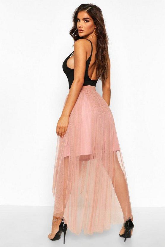 Dip Hem Tulle Maxi Skirt