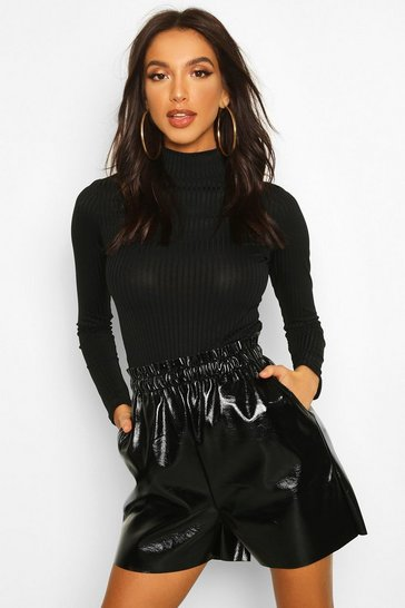 Womens Black Paperbag Waist Vinyl Shorts