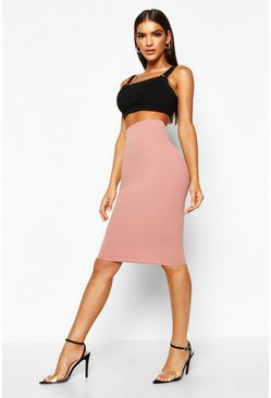 Rose Deep Contour Waistband Midi Skirt