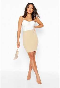 Deep Contour Waistband Mini Skirt, Stone