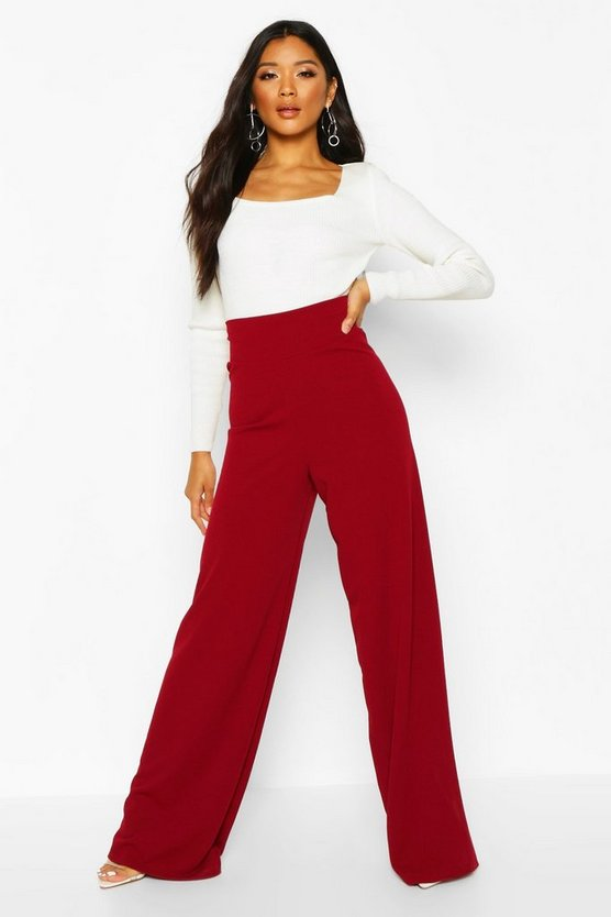 Deep Contour Waistband Wide Leg Trousers