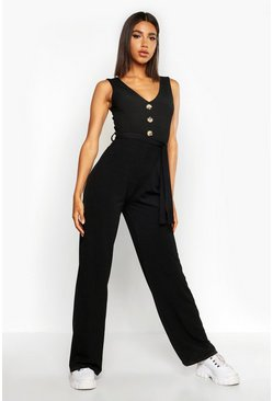 Womens Black Rib Button Through Wide Leg Jumpsuit