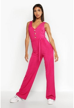 Hot pink Ribbed Button Through Wide Leg Jumpsuit