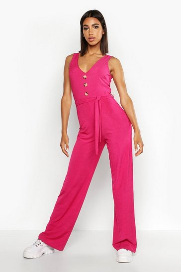 Womens Hot pink Ribbed Button Through Wide Leg Jumpsuit