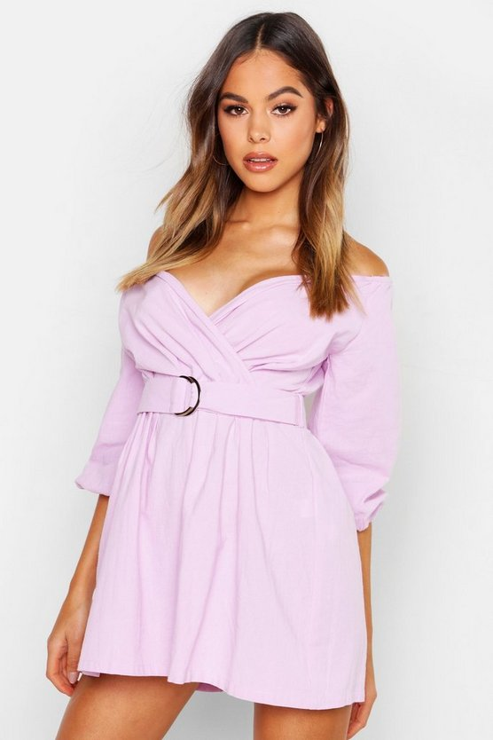 Lilac Linen Mix Bardot Belted Wrap Playsuit