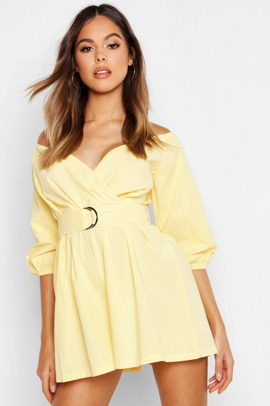 Yellow Linen Mix Bardot Belted Wrap Romper