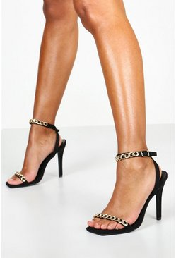 Womens Black Chain Strap 2 Part Stilettos