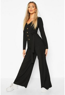 Womens Black Long Sleeve Horn Button Ribbed Tie Jumpsuit