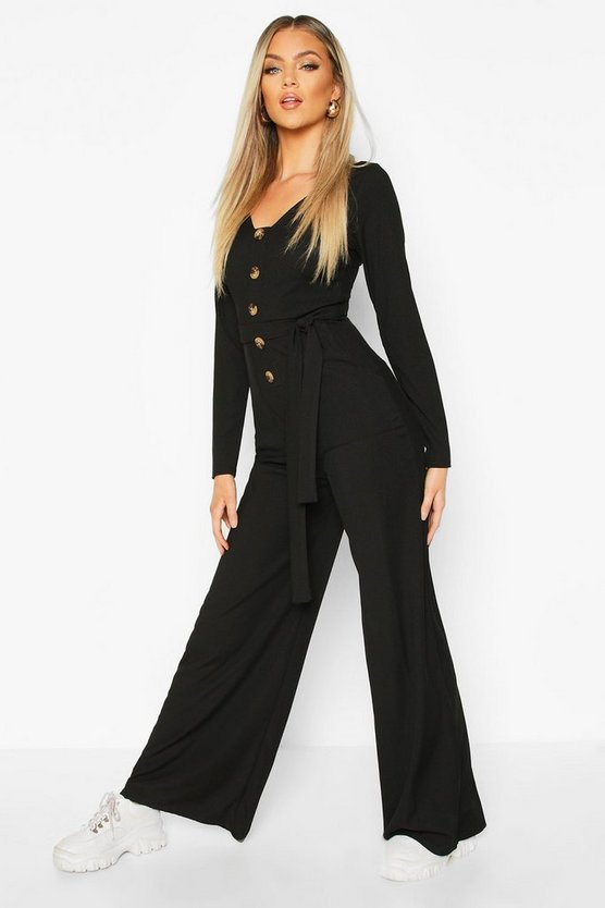 Long Sleeve Horn Button Rib Tie Jumpsuit
