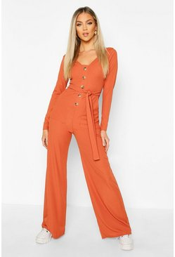 Womens Burnt orange Long Sleeve Horn Button Ribbed Tie Jumpsuit