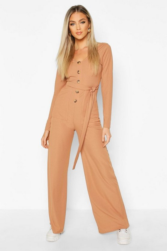 Long Sleeve Horn Button Rib Tie Jumpsuit by Boohoo