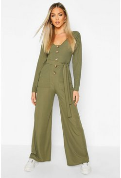 Khaki Long Sleeve Horn Button Ribbed Tie Jumpsuit