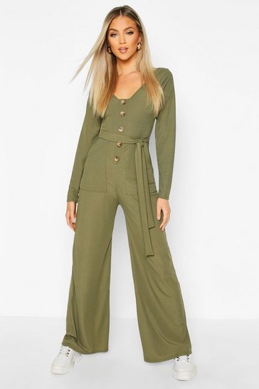 Womens Khaki Long Sleeve Horn Button Ribbed Tie Jumpsuit