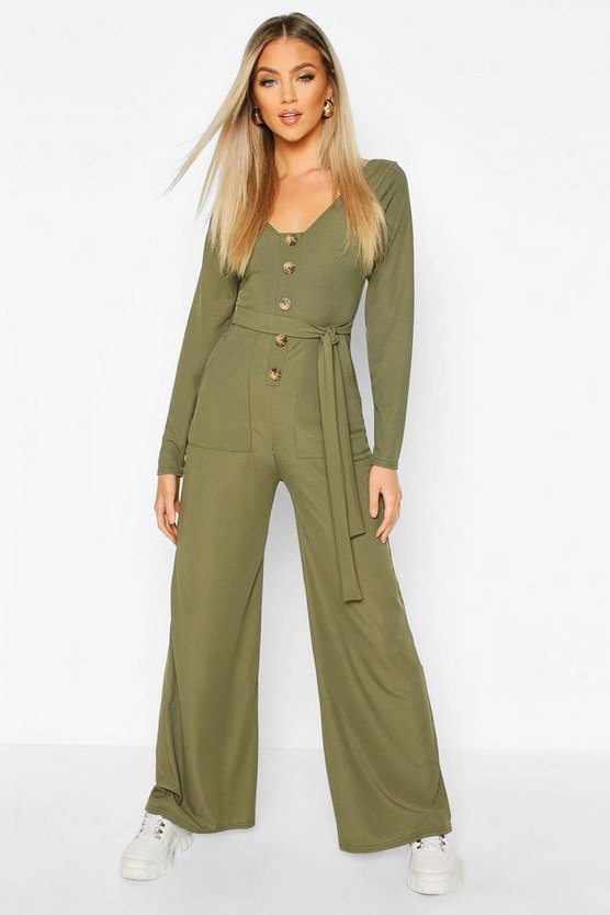 Long Sleeve Horn Button Ribbed Tie Jumpsuit