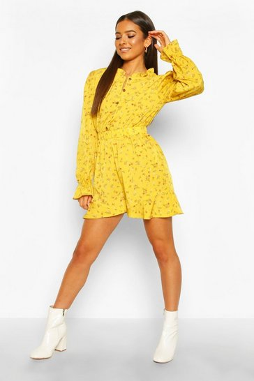 Mustard Ditsy Floral Ruffle Playsuit