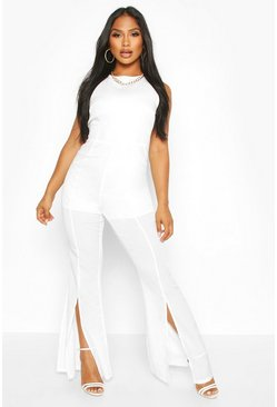 Womens White Split Flare Jumpsuit