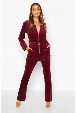 Zip Through Slim Fit Cord Flare Jumpsuit, Berry, Donna