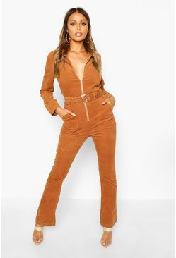 Tan Zip Through Slim Fit Cord Flare Jumpsuit