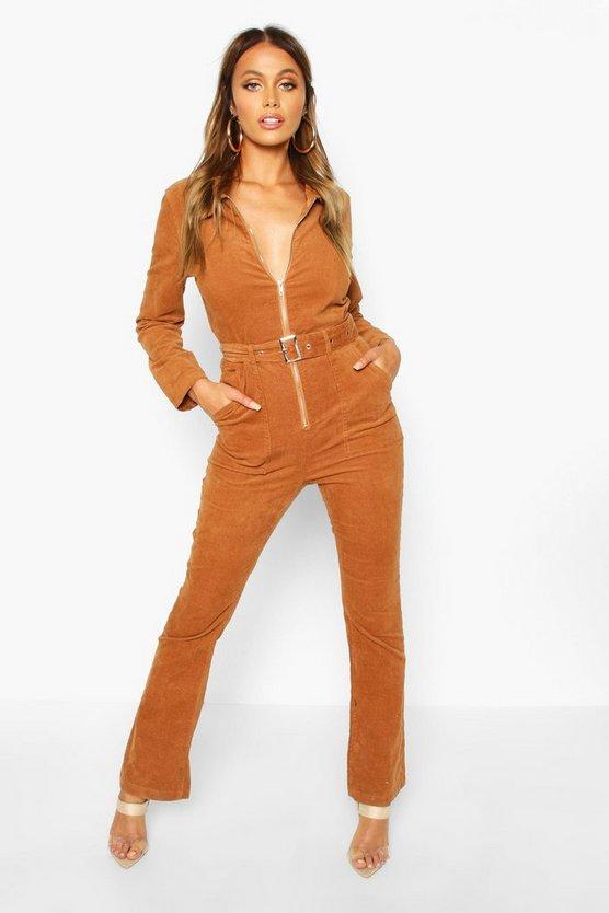 Zip Through Slim Fit Cord Flare Jumpsuit