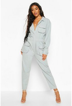 Womens Slate blue Utility Denim Boilersuit