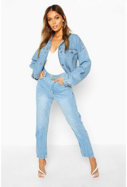 Light blue Mom jeans med hög midja
