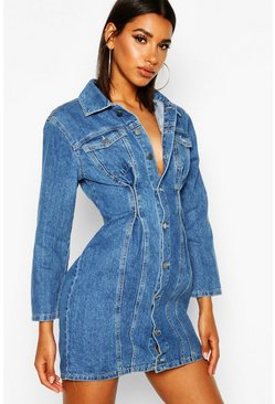 Womens Mid blue Seam Detail Denim Bodycon Dress