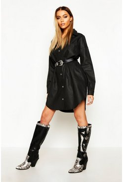 Black Coated Denim Oversized Shirt Dress