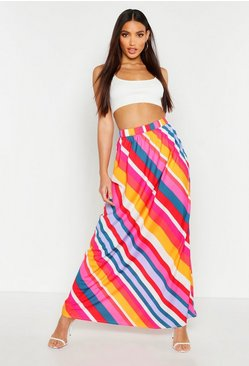 Pink Bold Stripe Floor Sweeping Maxi Skirt