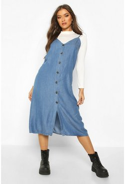 Womens Light blue Denim Chambray Button Through Midi Dress