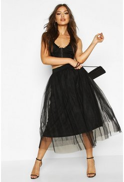 Womens Black Tulle Longer Length Midi Skirt