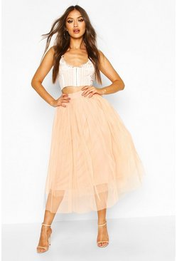 Womens Nude Tulle Longer Length Midi Skirt