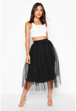Black Tulle Longer Length Midi Skirt