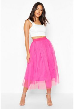 Hot pink Tulle Midi Skirt