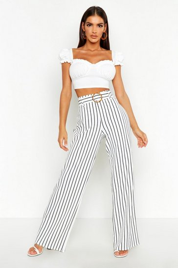 Womens Ivory Belted Mono Stripe Wide Leg Trousers