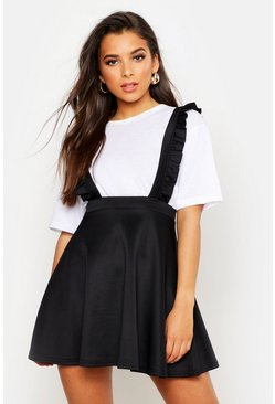 Womens Black Ruffle Strap Pinafore Skater Skirt