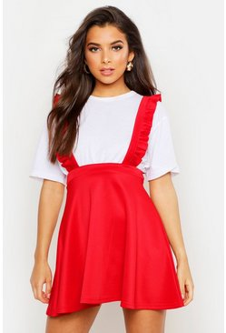 Womens Red Ruffle Strap Pinafore Skater Skirt