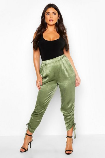 Womens Khaki Ruched Ankle Luxe Joggers