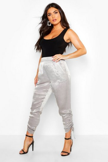 Womens Silver Ruched Ankle Luxe Joggers