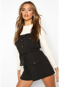 Womens Black Utility Pinafore Playsuit