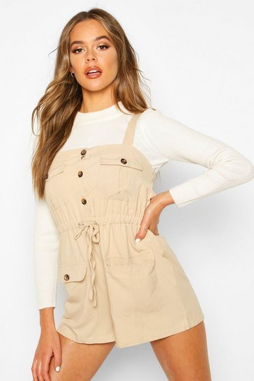 Womens Sand Utility Pinafore Playsuit