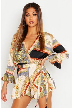 Womens Grey Scarf Print Wrap Romper