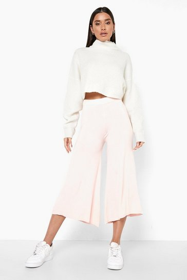 Womens Rose Super Flare Jersey Wide Leg Culottes