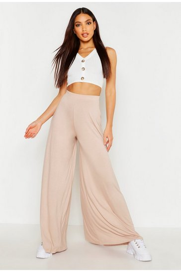 Womens Sand Super Wide Leg Jersey Trousers