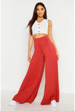 Terracotta Super Wide Leg High Waist Jersey Trousers