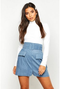 Womens Blue Cord Pocket Front Self Belted Mini Skirt