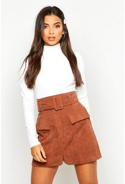 Womens Tan Cord Pocket Front Self Belted Mini Skirt