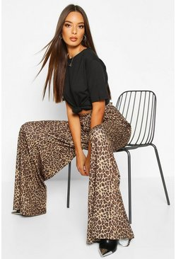 Tan Leopard Super Flare Wide Leg Trouser