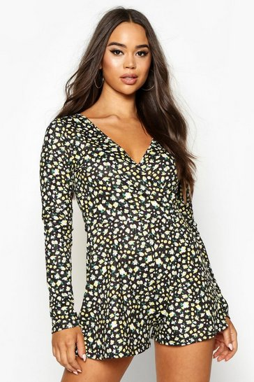 Womens Black Wrap Front Ditsy Floral Playsuit