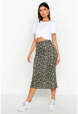 Womens Black Ditsy Floral Fit & Flare Midi Skirt